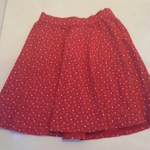 Red Star Pattern Skater Skirt - Size XS